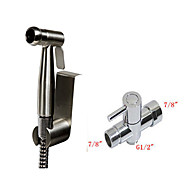 Single Hand Held Bidet Stainless Steel Diaper Sprayer Shattaf Brushed Nickel With 7/8 inch T-Adapter
