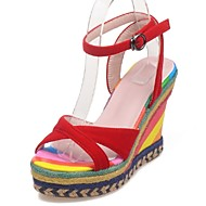 Women's Shoes Wedge Heel Wedges / Peep Toe Sandals Party & Evening / Dress / Casual Black / Red