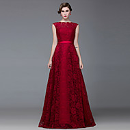 Formal Evening Dress A-line Bateau Floor-length Lace / Satin
