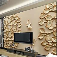 עצים/ עלים ארט דקו 3D טפט עבור בית עכשווי וול כיסוי , קנבאס חוֹמֶר דבק נדרש צִיוּר קִיר , Wallcovering חדר