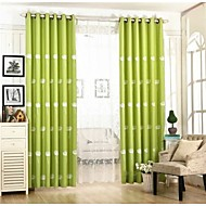 Two Panels Country Living Room Linen / Cotton Blend Blackout Curtains Drapes
