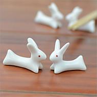 2 pcs titular pauzinhos cerâmica, porcelana bonito coelho