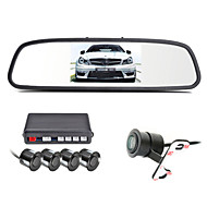 renepai® 4,3 inch 4 sonde parkeersensoren LCD-display van de camera video-auto achteruit back-up radar kit zoemer 12v