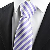 New Striped Purple White JACQUARD Men's Tie Necktie Formal Wedding Gift KT0002