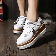 패션 스니커즈-야외 / 캐쥬얼-여성의 신발-크리퍼-레더렛-플랫폼-블랙