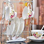 Ceramic Tea Cup 4*3pcs Afternoon Tea China British Style Random Color