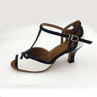 Customizable Women's Dance Shoes Leather Leather Latin Sandals / Heels Stiletto HeelPractice / Beginner / Professional / Indoor /