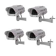 exterior / interior solares CCTV alimentado câmera de segurança do manequim cam falso com flash LED, câmera IP fictício 4pcs ao ar livre