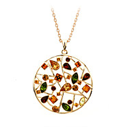 HKTC Valentine's 18K Rose Gold Plated Colourful Crystal Flowers Hollow Round Pendant Necklaces Vintage Jewelry