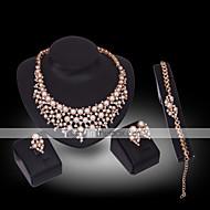utánzat Diamond Gyöngy luxus ékszer Drágakő Gyöngy 18K arany utánzat Diamond Fehér 1 Nyaklánc 1 Pár fülbevaló 1 Karkötő 1 Gyűrű Mert