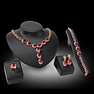 utánzat Diamond luxus ékszer Drágakő Kristály Strassz Arannyal bevont 18K arany utánzat Diamond Ötvözet Fukszia PirosNyakláncok Naušnice