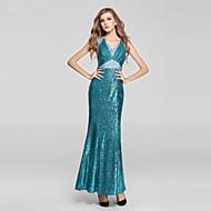 Formal Evening Dress-Clover Trumpet/Mermaid V-neck Ankle-length Sequined