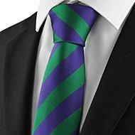Gravata(Verde / Roxo,Poliéster)Listrado