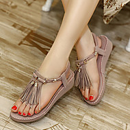 Women's Shoes Leatherette Wedge Heel Wedges Slingback Sandals Dress Purple / Almond