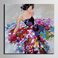 Mini Size E-HOME Oil painting Modern A Woman In A Flower Skirt Pure Hand Draw Frameless Decorative Painting