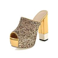נעלי נשים-סנדלים-דמוי עור-עקבים / נעלים עם פתח קדמי / פלטפורמה / נעלי בית / רצועה אחורית-שחור / כסוף / זהב-שמלה / קז'ואל / מסיבה וערב-עקב