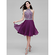 TS Couture Prom Dress - Sparkle & Shine A-line High Neck Knee-length Chiffon with Beading Crystal Detailing