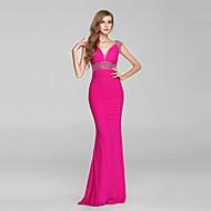 Formal Evening Dress Trumpet/Mermaid V-neck Sweep/Brush Train Chiffon / Tulle