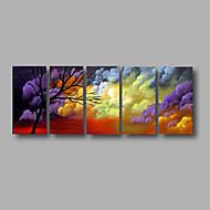 """allungato (pronto da appendere) pittura a olio dipinta a mano 60 """"x24"""" arte muro di tela moderna alberi astratti viola"""