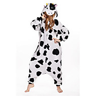 Kigurumi Pyjamas New Cosplay® / Milchkuh Gymnastikanzug/Einteiler Halloween Tiernachtwäsche Schwarz/Weiß Patchwork Polar-Fleece Kigurumi