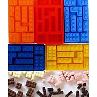 Lego Building Block Style Bricks Ice Cream Cube Maker Silicone Ice Tray Mold Chocolate Moulds(Random Color)