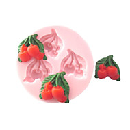 Drie Gaten Cherry Fruit Silicone Mold Fondant Mallen Sugar Hobbygereedschappen Chocolade Mould voor gebak