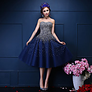 Cocktail Party Dress Ball Gown Sweetheart Tea-length Tulle with Beading / Crystal Detailing / Pearl Detailing / Sequins