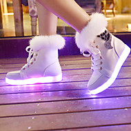 LED Light Up Shoes, Women's Spring Fall Winter Leatherette Outdoor Casual Athletic Flat Heel Lace-up Black White