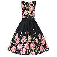 Women's Plus Size Vintage Skater Dress,Floral Round Neck Knee-length Sleeveless Black Cotton Fall