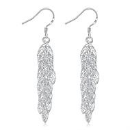 lureme®Fashion Style Silver Plated More Lealves Shaped Dangle Earrings