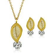 Ékszer készlet Nyaklánc / fülbevaló Divat Rozsdamentes acél Cirkonium Titanium Acél Leaf Shape Aranyozott Nyakláncok Naušnice MertEsküvő