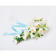 """Bouquets de Noiva Cascata Rosas Lírios Buquês Casamento Festa / noite Cetim 19.7""""(Aprox.50cm)"""