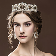 Gorgeous Women's Rhinestone Wedding Bridal Tiaras Earring Set Golden Party Headpiece HG2301