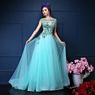 Formal Evening Dress Trumpet / Mermaid Jewel Court Train Lace / Tulle with Beading / Crystal Detailing / Lace