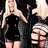 Women's Back Open Bondage Halter PVC Leather Clubwear Dress