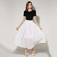 Women's Solid Fashion All Match Ruched Chiffion Skirts,Casual / Day / Boho Maxi