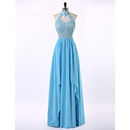 Formal Evening Dress Sheath / Column High Neck Floor-length Chiffon / Lace with Appliques / Beading / Draping / Crystal Brooch / Sequins