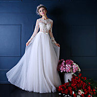 Princess Wedding Dress Floor-length Jewel Lace / Tulle with Beading / Crystal / Lace / Pearl