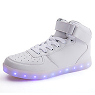 Sneakers-PU-Komfort Light Up Sko-Herre-Sort Hvid-Fritid-Flad hæl
