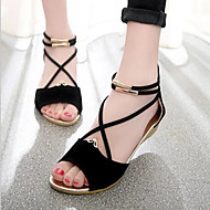 Women's Shoes Suede Wedge Heel Peep Toe / Comfort / Ankle Strap Sandals Outdoor / Casual Black / Blue / Red