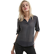Women's Solid Red / Gray Blouse,V Neck Long Sleeve