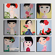 E-HOME® Stretched Canvas Art Cartoon Girl Series Decoration Painting MINI SIZE One Pcs