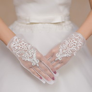Wrist Length Fingertips Glove Lace Tulle Bridal Gloves Party/ Evening Gloves Embroidery