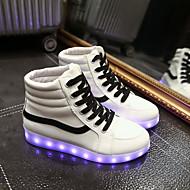 נעלי נשים-סניקרס אופנתיים-דמוי עור-מעוגל-שחור / לבן-שטח / קז'ואל / ספורט-עקב שטוח