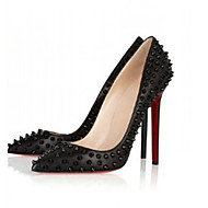 Women's Shoes Pointed Toe Rivets Leatherette Stiletto Heel 12cm  Party & Evening Black Sexy Shoes
