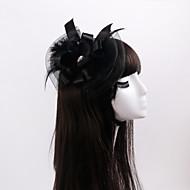 Dame / Blomsterpige Sateng / Fjær / Rhinestone / Organza Headpiece-Bryllup / Spesiell Leilighet / Avslappet fascinators 1 Deler