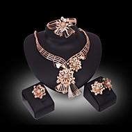 Kristály utánzat Diamond luxus ékszer Strassz Arannyal bevont 18K arany utánzat Diamond Ötvözet Arany Nyakláncok Naušnice Gyűrűk Karkötő