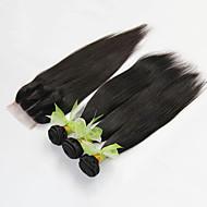 4pcs viel brasilianisches gerades reines Haar mit Verschluss 3 Bündel unverarbeitete brasilianische Menschenhaargewebe mit