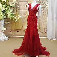 Formal Evening Dress-Burgundy Trumpet/Mermaid V-neck Sweep/Brush Train Lace / Tulle