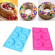 6 holte donut doughnut bundt ring cake chocolade dessert siliconevorm decor kits willekeurige kleur